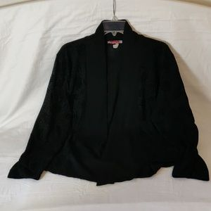 Carol Rose Open Front Black Cardigan